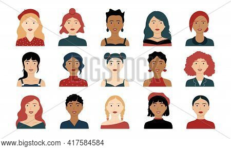 Female Avatars. Woman Hipster Avatars, Feminist Creative Characters, Happy Modern Stylish Persons. V