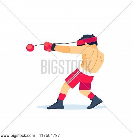 Boxer Boy Training With An Expander Fight Ball Boy Throwing A Fierce And Powerful Punch. Special Tra