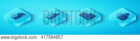 Set Isometric Fast Delivery By Car, Fast Delivery By Car, Online Ordering Noodles Delivery And Onlin