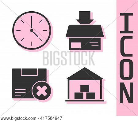 Set Warehouse, Clock, Carton Cardboard Box And Delete And Carton Cardboard Box Icon. Vector