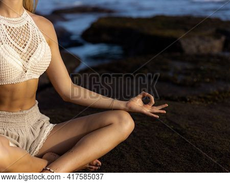 Close Up Gyan Mudra. Lotus Pose, Padmasana. Focus On Fingers. Yoga On The Beach. Woman Sitting On Th