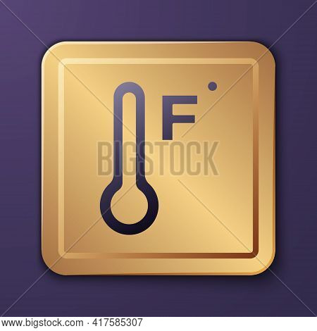 Purple Meteorology Thermometer Measuring Heat And Cold Icon Isolated On Purple Background. Temperatu
