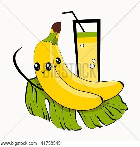 Vector Illustration Of Cartoon Fruits. Isolated Image Of A Banana With Eyes And A Glass Of Juice.