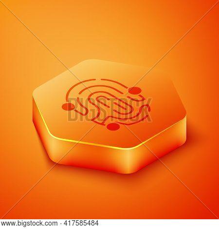 Isometric Fingerprint Icon Isolated On Orange Background. Id App Icon. Identification Sign. Touch Id