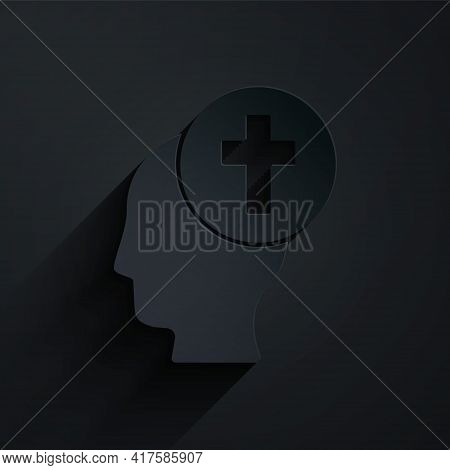 Paper Cut Man Graves Funeral Sorrow Icon Isolated On Black Background. The Emotion Of Grief, Sadness