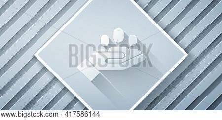 Paper Cut Hand For Search A People Icon Isolated On Grey Background. Recruitment Or Selection Concep