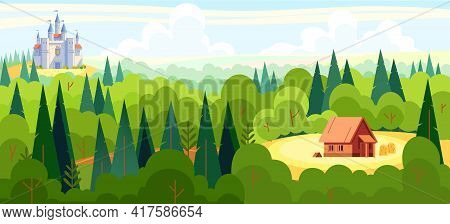 Medieval Fairy Tale Magical Landscape Panorama With A Castle And The House Of A Fairy Tale Character