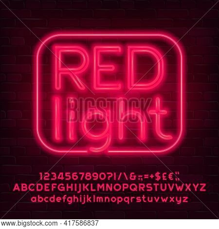 Red Light Alphabet Font. Neon Light Letters, Numbers And Punctuation. Uppercase And Lowercase. Stock