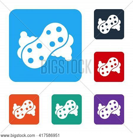 White Sponge With Bubbles Icon Isolated On White Background. Wisp Of Bast For Washing Dishes. Cleani