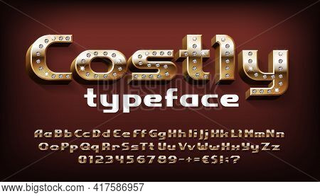 Costly Alphabet Font. 3d Gold Letters, Numbers And Symbols With Diamonds. Uppercase And Lowercase. S