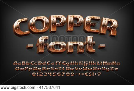 Copper Alphabet Font. Messy Steampunk 3d Letters, Numbers And Symbols. Uppercase And Lowercase. Stoc
