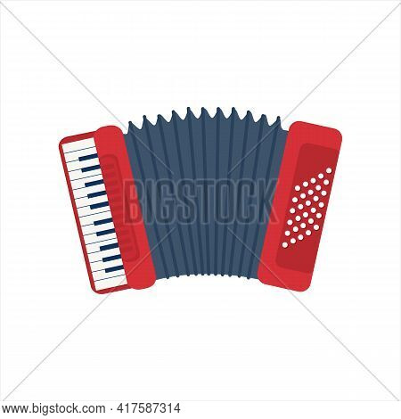 Chromatic Button Accordions Or Russian Bayan. Flat Diatonic Melodeon Or Piano Accordion. Cartoon Blu