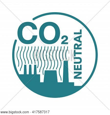 Co2 Neutral. Flat Badge With Factory Silhouette, Net Zero Carbon Footprint - Carbon Emissions Free N