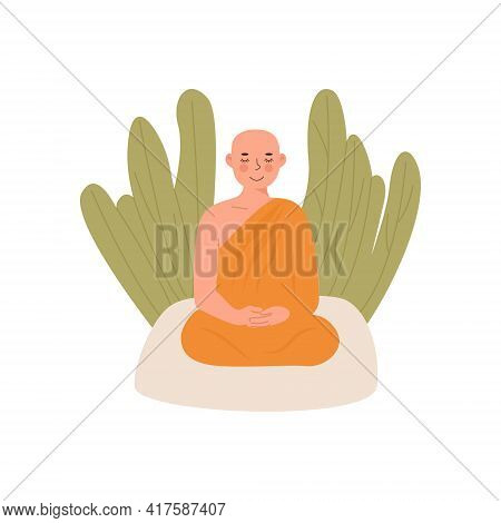 Cute Peaceful Buddhist Theravada Thai Monk In Yellow Robe Meditating In Lotus Posture With Closed Ey