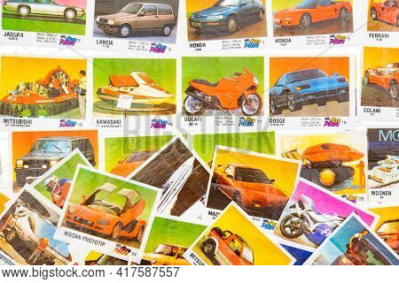 March 28, 2021 Minsk, Belarus. Hobby Collecting Vintage Oto Moto Gum Wrappers