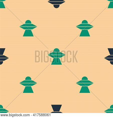 Green And Black Ufo Flying Spaceship Icon Isolated Seamless Pattern On Beige Background. Flying Sauc