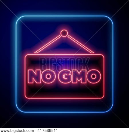 Glowing Neon No Gmo Icon Isolated On Blue Background. Genetically Modified Organism Acronym. Dna Foo