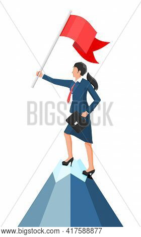 Businesswoman Standing On Top Of Mountain With Flag. Symbol Of Victory, Successful Mission, Goal And