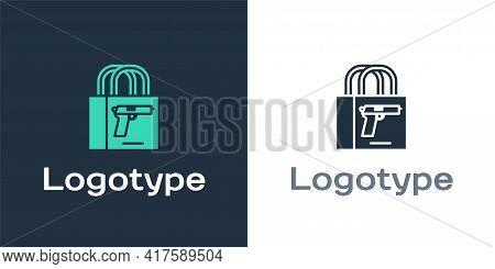 Logotype Buying Gun Pistol Icon Isolated On White Background. Buying Weapon. Logo Design Template El