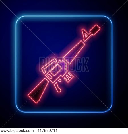 Glowing Neon M16a1 Rifle Icon Isolated On Blue Background. Us Army M16 Rifle. Vector