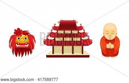 Chinese Culture Symbols With Pagoda Temple And Buddhist Monk Vector Set