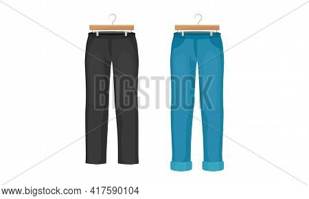 Man Clothing With Pair Of Jeans And Black Trousers On Wooden Hanger Vector Set
