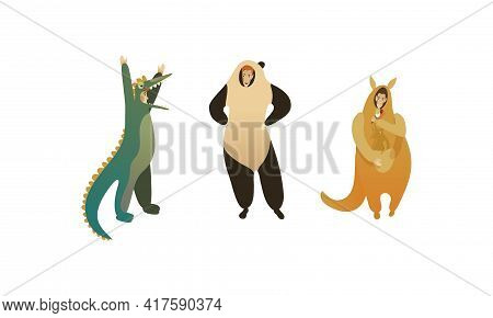 Man Character Wearing Animal Costume Participating In Masquerade And Celebrating Party Vector Set