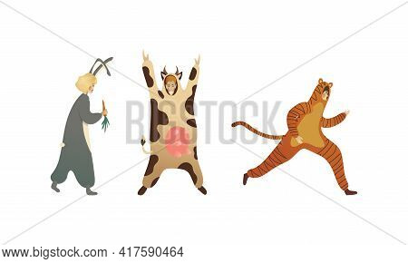 Man And Woman Character Animator Wearing Animal Costume Providing Entertainment In Masquerade Or Par