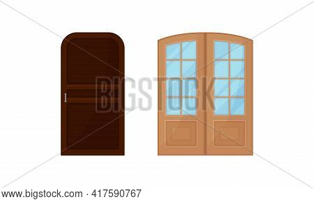 Wooden Single And Double Door As Hinged Movable Barrier Used As Entrance In The Building Vector Set