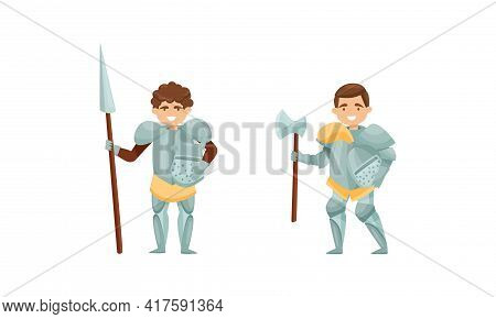Knight From Middle Ages In Iron Armour Suit Holding Sharp Spear And Ax Vector Set