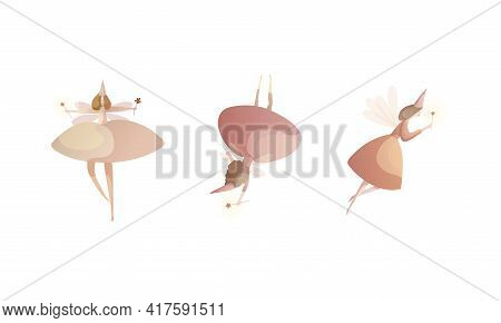 Tender Fairies In Neat Dresses Fluttering With Magic Wand Vector Set