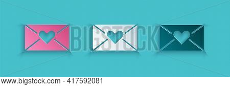 Paper Cut Envelope With Valentine Heart Icon Isolated On Blue Background. Message Love. Letter Love