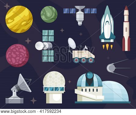 Explore Travel In Space Set. Star Observatories With Powerful Telescopes Rockets Orbiting Satellites