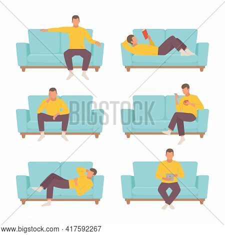 Male Character Resting On Sofa Set. Guy In Yellow Sweater Reads Interesting Book Blue Ottoman And Si