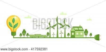 Environmental And Ecology Concept. Concept Illustration For Ecology, Green Power, Wind Energy. Ecolo