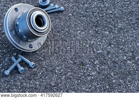 Car Engine. Set Of New Metal Car Part. Auto Motor Mechanic Spare Or Automotive Piece Isolated On Bla