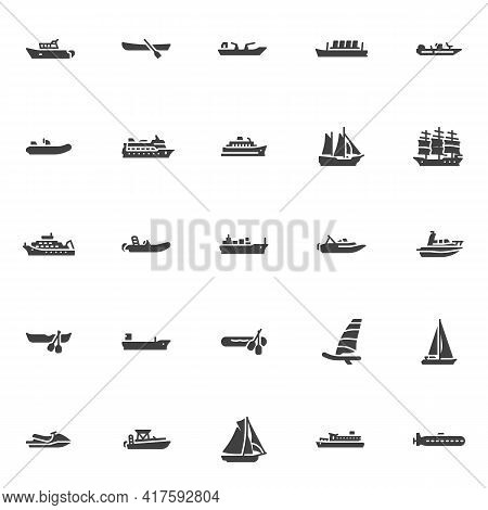 Ships And Boats Vector Icons Set, Modern Solid Symbol Collection, Filled Style Pictogram Pack. Signs