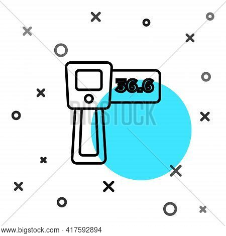 Black Line Digital Contactless Thermometer With Infrared Light Icon Isolated On White Background. Ra