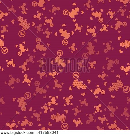 Brown Line Voice Recognition Icon Isolated Seamless Pattern On Red Background. Voice Biometric Acces
