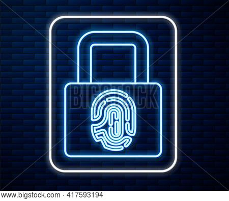 Glowing Neon Line Fingerprint With Lock Icon Isolated On Brick Wall Background. Id App Icon. Identif