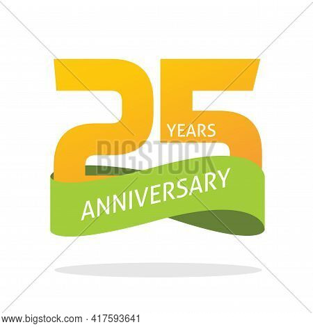 25 Years Anniversary Celebrating Vector Logo Icon In Yellow Orange Green Color, Number 25th Year Bir