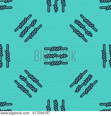 Black Line Barbed Wire Icon Isolated Seamless Pattern On Green Background. Vector