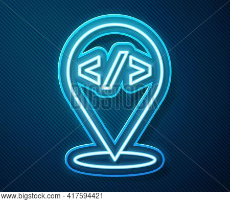 Glowing Neon Line Web Design And Front End Development Icon Isolated On Blue Background. Vector
