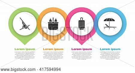 Set Sunbed, Cooler Bag And Water, Suitcase And Sunbed And Umbrella. Business Infographic Template. V