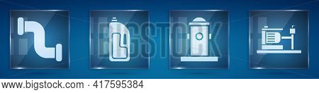 Set Industry Metallic Pipe, Container With Drain Cleaner, Fire Hydrant And Electric Water Pump. Squa