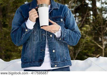 Travel Mug Mockup Of A Woman In Denim Jacket