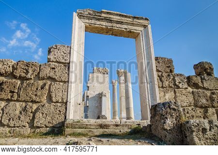 Remains Of Doorway Of Antique Temple In Laodicea, Ancient City Near Denizli, Turkey. Some Parts Are