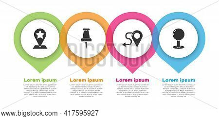 Set Map Pointer With Star, Push Pin, Route Location And Push Pin. Business Infographic Template. Vec