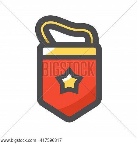 Red Soviet Pennant Vector Icon Cartoon Illustration