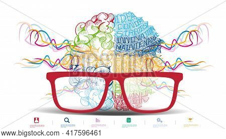Glasses Brainstorm For Success Creativity  Idea And  Plan  Think Analyze Creative Work,flat Design I